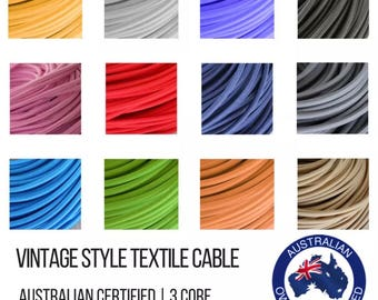 Vintage Style Round Textile Cable - Braided Electrical Cable