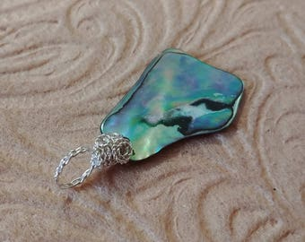 Turquoise Shimmer Shell Beachy Pendant