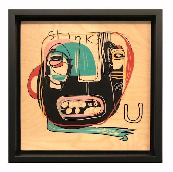 Slinks U - Original Vector Drawing - 8x8 Print on Wood - Framed