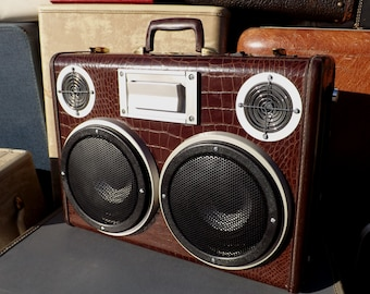 """SOLD Vintage Suitcase Boombox Rechargeable Battery MP3 Player """"CHOMP"""" by Hi-Fi Luggage Stereo Speaker Alligator"""