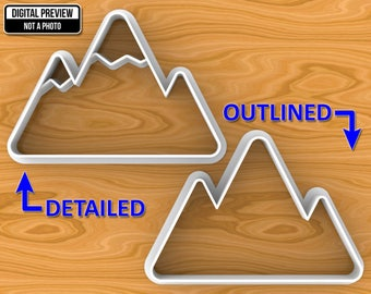 Mountains Detailed or Outlined Dough Fondant Cookie Cutter, Selectable sizes, Sharp Edge Upgrade Available.