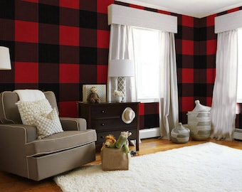 Large Buffalo Check  // Red and Black Removable Peel 'n Stick Wallpaper