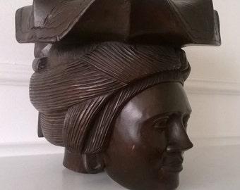 Hand Wood Sculpture - Polynesian Women - Head Statue - Ethnic - Signed By Robert Donald Artist