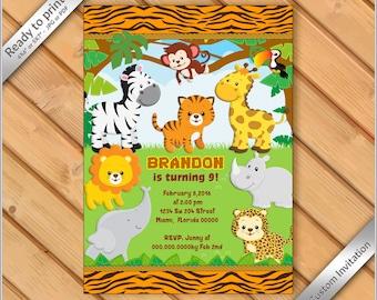 50% OFF SALE - Jungle Birthday Invitation printable - Safari Invitation Zoo, Invitation Boy Birthday Invite - Safari Birthday #12