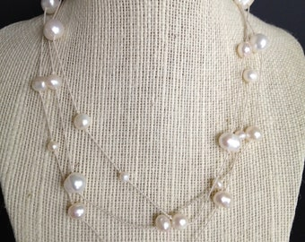 White Freshwater Pearl Necklace, Bridal Jewelry, Bridesmaids Necklace, Multi Strand Necklace, Layered Necklace