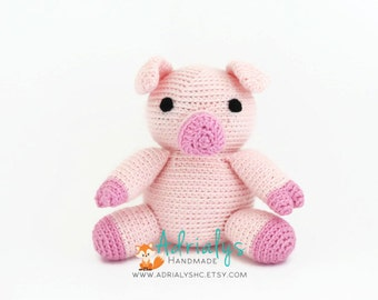 Crochet Pig- Stuffed Pig- Pig Plush- Farm Animals- Barn Animals- Handmade Pig- Crochet Toy-Amigurumi- Stuffed Animals- Made to Order