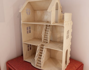 Dollhouse v3. Big plywood Doll house for Barbie. 1:6 scale vector model for CNC router and laser cutting. Barbie size  dollhouse.