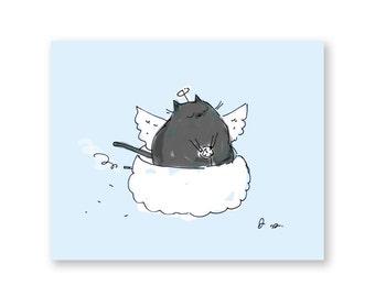 Angel Cat Card - Pet Sympathy Card - Cat Loss