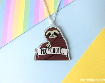 Pro-Choice Feminist Sloth Necklace