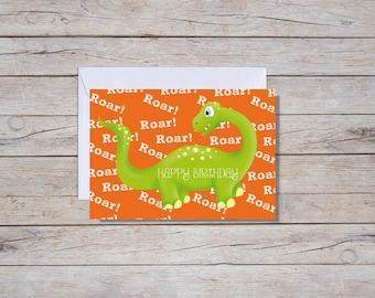 Dinosaur Happy Birthday - A6 Greeting Card