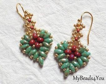 SuperDuo Beadwoven Earrings,Heart Earrings,Corazón Beaded Earring,Mothers Day,MyBeads4You,Seed Bead Earrings, Tutorial, Turquoise Jewelry