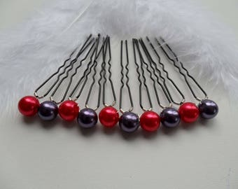 10 hairpins Perle red bead plum hair evening ceremony