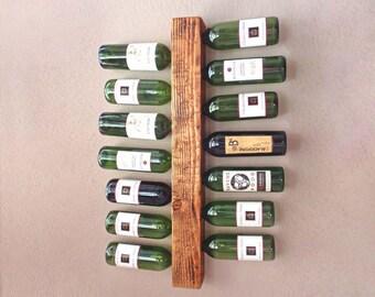 Wall Mounted Wine Rack 14 Bottle | Vertical Wine Rack | Wood Wine Storage