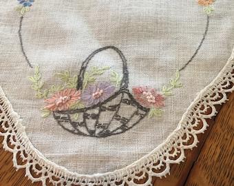 Vintage linen embroidered dresser scarf, Oval, Flower basket, floral, 1950s