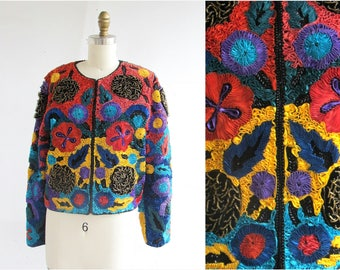 Colorful Sequin Jacket/ Beaded Sequin Ribbon Jacket/ Silk Sequin Jacket/ SZ M Floral Motif