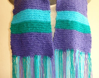 Two-needle woven wool scarf with three colors/two-needled knitted Scarf