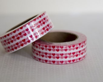 Masking tape, washi tape small red hearts 15mm x 10m 1 roll