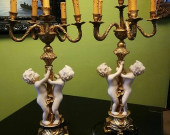 Baroque style putti lamps