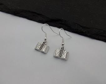 Book Earrings, Charm Earrings, Silver Earrings, Book Charm Earrings, Book Jewellery, Reading, Book Lover