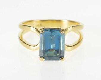 14K Emerald Cut London Blue Topaz Split Band Ring Size 5.25 Yellow Gold