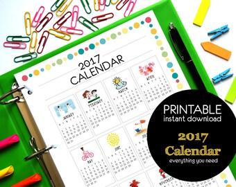 2017 Calendar PDF Printable INSTANT DOWNLOAD - A4 size