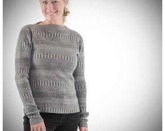 Organic Woolen Jumper with Boatneck Grey