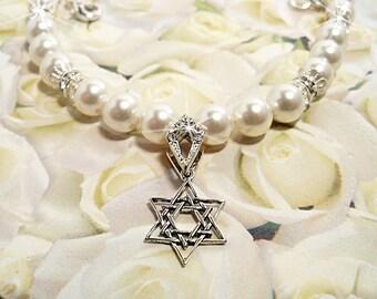 Star of David Necklace, Wedding, Bridal, Bride, Pearl, Crystal, Dressy, Jewish Bride