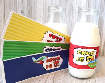 Cars, trains, planes & boats water bottle labels for a vehicle or traffic themed children's birthday party