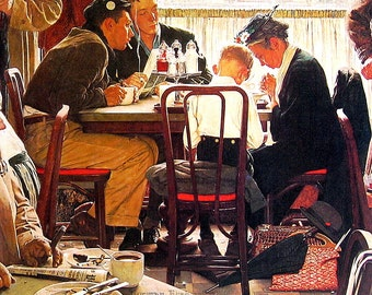 Saying Grace - Vintage Book Page - 1976 Norman Rockwell Print