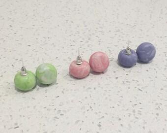 Marble Stud Earrings, Polymer Clay, Colourful, Handmade, Jewellery