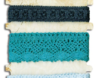 Bo Bunny Blue Lace Trim - Lace Trim - Blue Lace Trim - Lace Trim For Scrapbook - Embellishment Trim - Blue Lace Embellishment - 4-077