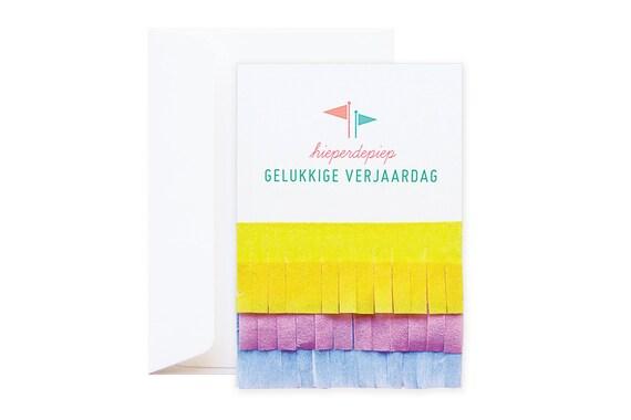 Verjaardagskaart Hieperdepiep // kleurrijke speelse wenskaart // afgewerkt met vrolijke crepepapier // voor kinderen en volwassen
