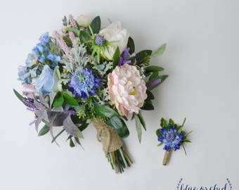 Wildflower Bouquet, Wedding Bouquet, Bridal Bouquet, Blue Wildflower Bouquet, Boho Bouquet, Blue, Rustic Bouquet, Faux Bouquet, Silk Flowers
