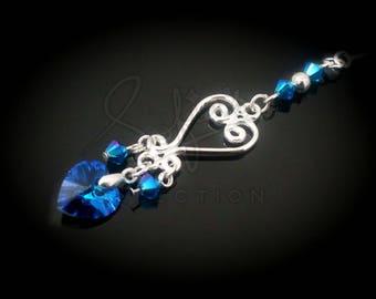 Silver swirly heart Swarovski hijabpin - stickpin - hatpin - lapel pin - sewing pin - shawl pin - handmade - gift for her