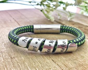 Stamped Secret Message Rope Bracelet, Mens Scroll Bracelet, Mens Paracord Message Bracelet, Father's Day Gift