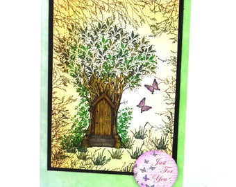 Fairy Card | Hand Inked and Stamped Greeting Card |  Birthday| Butterfly | Magical | Fairy dust