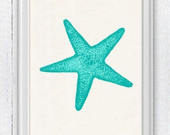 Starfish in green aqua color - Decorative art Giclee Print wall art seaside print- sea life print -Marine sea life art SAS081