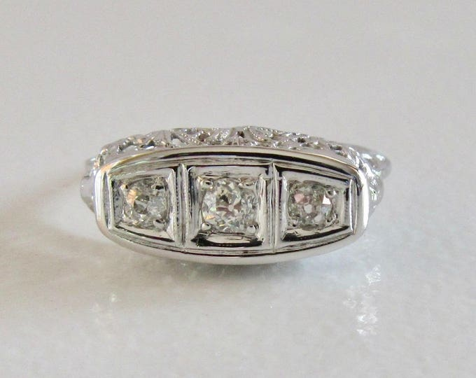 White Gold Diamond Filigree Ring, Edwardian Diamond Filigree Ring, Filigree Ring, Antique Filigree Ring, Antique Diamond Ring, Antique Ring