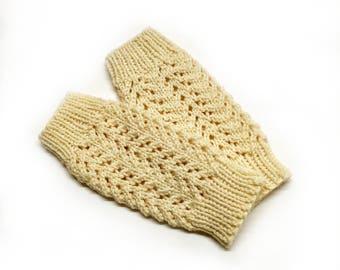 Ivory Mittens / Wrist Warmers / knit pattern / lace knit / wedding gift / bridal