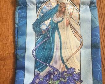 Drawstring Bag Lady of September Art Nouveau Birthstone Series Goddess Day of the Dead with Butterflies Mucha Style Tarot Deck Cosmetic Bag