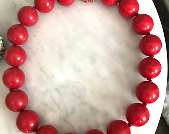 Vintage Red Chunky Beaded Necklace