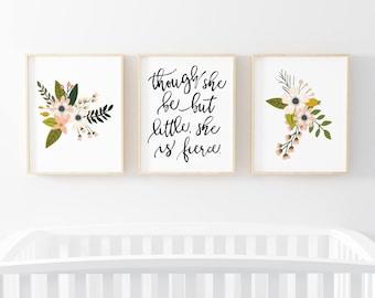 Though She Be But Little She Is Fierce Blush Sprigs 3 Bundle Nursery Art. Nursery Wall Art. Nursery Prints. Nursery Decor. Girl Wall Art.