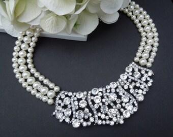 pearl necklace, bridal necklace, Rhinestone necklace, ivory pearl necklace, Statement necklace, swarovski necklace, wedding necklace,BRENDA
