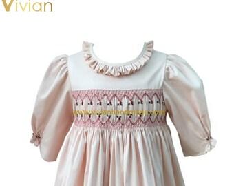 D18.113 - Hand smocked silk cotton dress