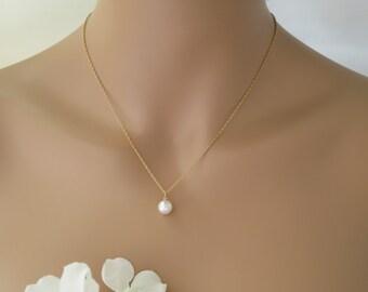 Dainty pearl backdrop necklace, Simple pearl back necklace, Swarovski pearl wedding necklace, Gold bridal necklace, Bridesmaid necklace