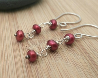 Cranberry Pearl Earrings. Red Freshwater Pearl Long Earrings Wire Wrapped Sterling Silver Beaded Earrings Wedding Jewelry June Birthday