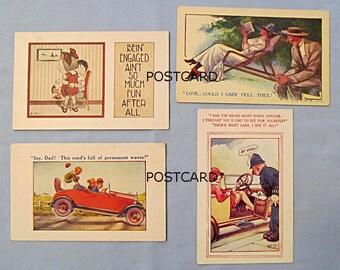 Four Comic Postcards, Early 1900s, Bamforth, Douglas Tempest, Children, Auto, Woman's Garter