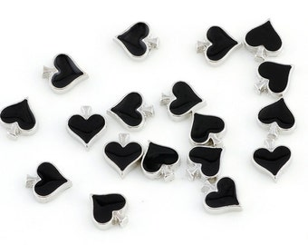 Black Heart floating Charms for Living Lockets, Glass Memory Lockets