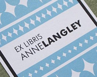 Personalized Bookplate -  Palm Beach modern style, Set of 24