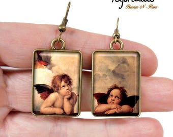 Earrings cabochon bronze table Raphael Angel painting